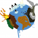 clipart shows various aspects of climate change effects