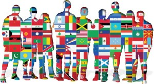 image people with multi country flags as fill.