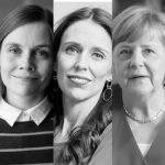 Women Leaders - head shot of (left to right)Tsai Ing-wen, Sanna Marin, Jacinda Ardern, Angela Merkel, Katrín Jakobsdóttir