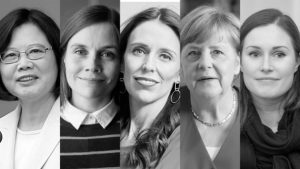 Women Leaders - head shot of (left to right)Tsai Ing-wen, Sanna Marin, Jacinda Ardern, Angela Merkel, Katrín Jakobsdóttir