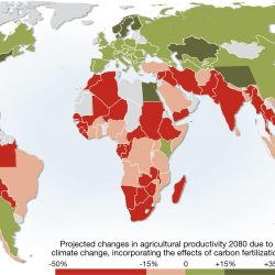 colored image of world map showing estimated changes in agriculture by 2080