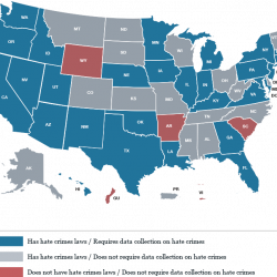 map of US territories and each state's hate crime tracking laws.