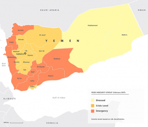 UN map of Yemin showing regions of food insecurity at Crisis, Stressed and Emergency levels