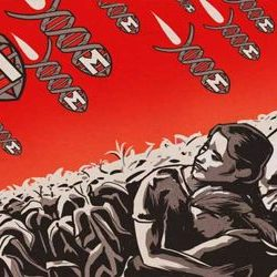 poster art of bombs falling on farm workers as sign of crimes against humanity.