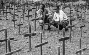 Rawanda 1994 genocide remembrance at a Mass Grave.