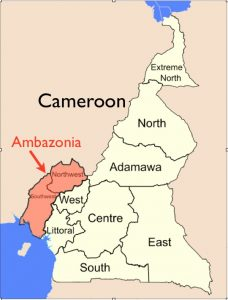 Map showing regions of Cameroon highlighing Ambazonia.