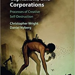 book cover image of man with it's polluting industries on it's back walking towards edge of a cliff following all lesser animals towards self destruction.