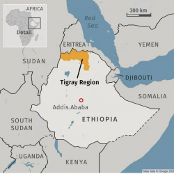 map of Ethiopia and Tigray with border countries, 2020 map from google
