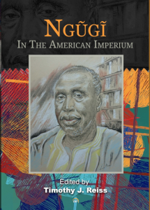 book cover of Ngugi in the American Imperium, shows sketch of Ngũgĩ wa Thiong'o